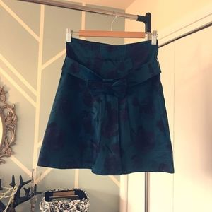 Floral high-waisted teal skirt  bow H&M - 4 - XS